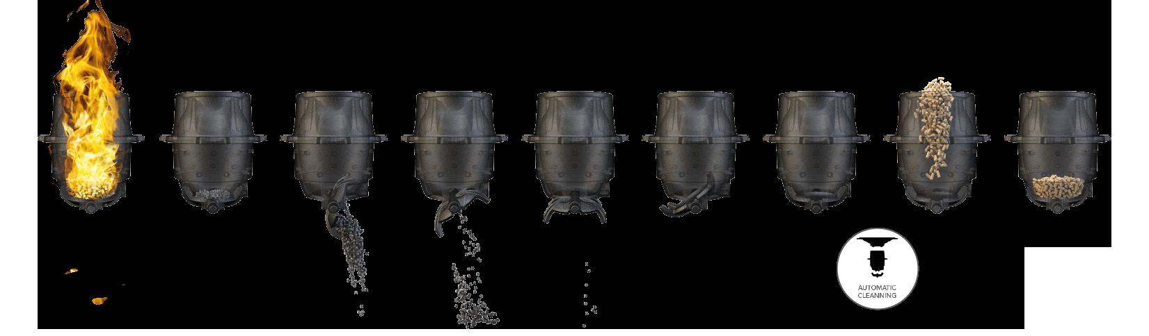 Nettoyage automatique du brasier du poêle à granulé de la société eyrard spécialiste du chauffage à charleville mezieres